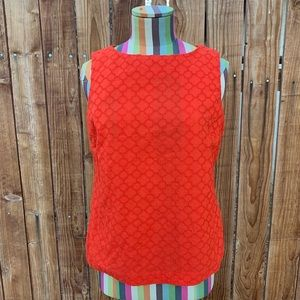 Talbots Red Orange Embroidered Sleeveless Blouse